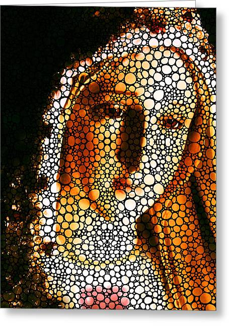 Scripture Mixed Media Greeting Cards - Mary - Holy Mother By Sharon Cummings Greeting Card by Sharon Cummings
