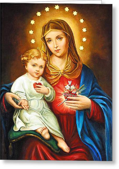 Immaculate Heart Greeting Cards - Mary Immaculate Heart Greeting Card by Munir Alawi