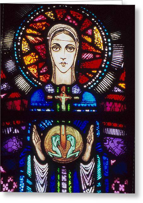 Catholic Glass Greeting Cards - Mary in Stained Glass by Harry Clarke Greeting Card by Philip Ralley