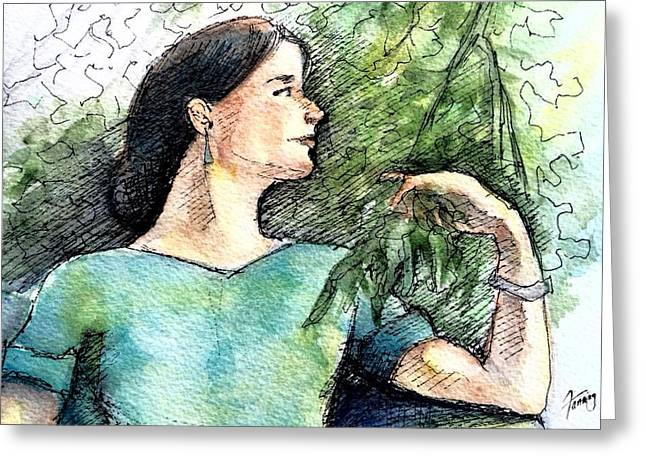 Bruce Springsteen Paintings Greeting Cards - Mary in the Garden Greeting Card by Mary Fanning