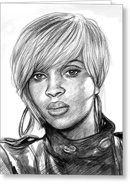 Mary Greeting Cards - Mary j blige art drawing sketch portrait Greeting Card by Kim Wang