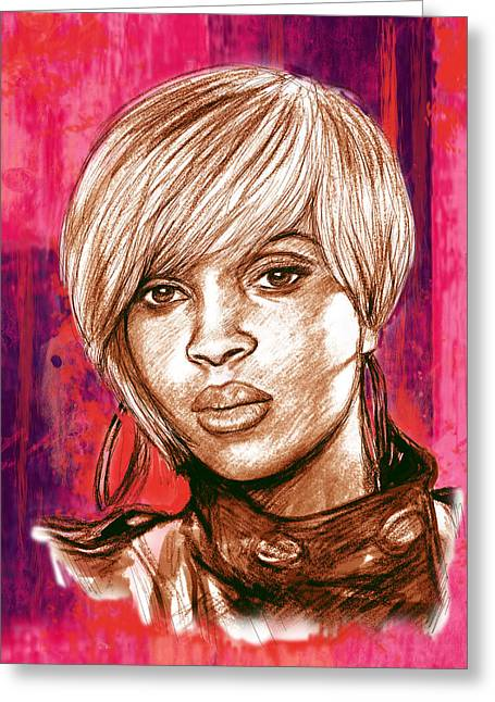 1992 Greeting Cards - Mary J. Blige stylised pop art drawing potrait poser Greeting Card by Kim Wang
