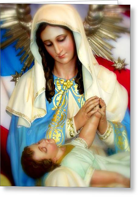 Christ Child Greeting Cards - Mary Greeting Card by Karen Wiles