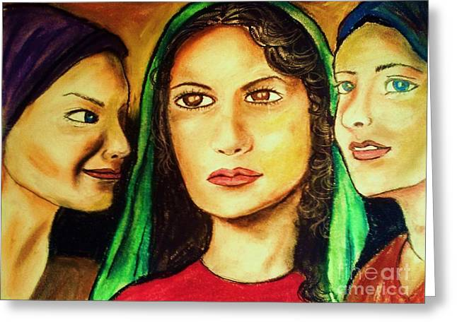 Forgiveness Drawings Greeting Cards - Mary Magdalene and her friends Greeting Card by Esther Rowden