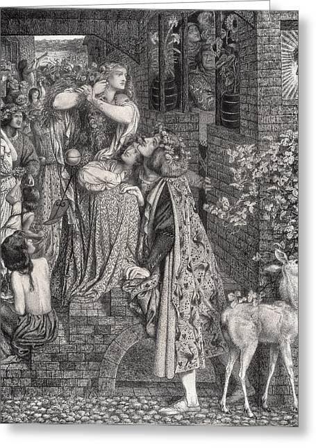 Hair Drawings Greeting Cards - Mary Magdalene At The Door Of Simon Greeting Card by Dante Gabriel Charles Rossetti
