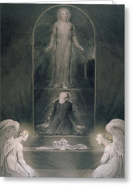 Angel Drawings Greeting Cards - Mary Magdalene at the Sepulchre Greeting Card by William Blake