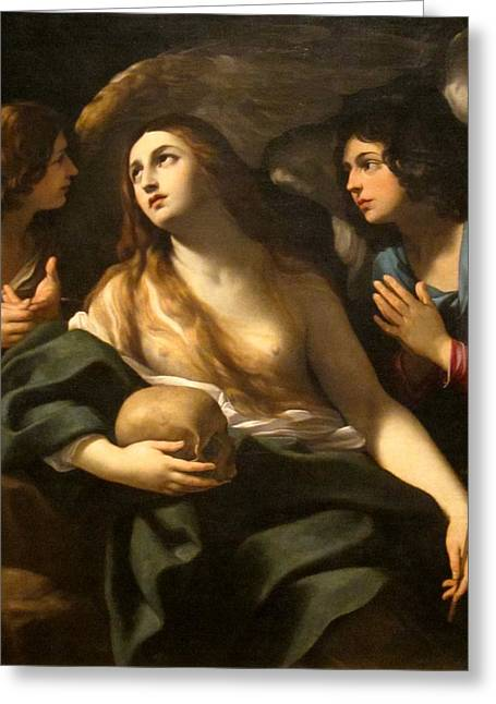 Religious Art Digital Art Greeting Cards - Mary Magdalene Between Two Angles Greeting Card by Guido Reni