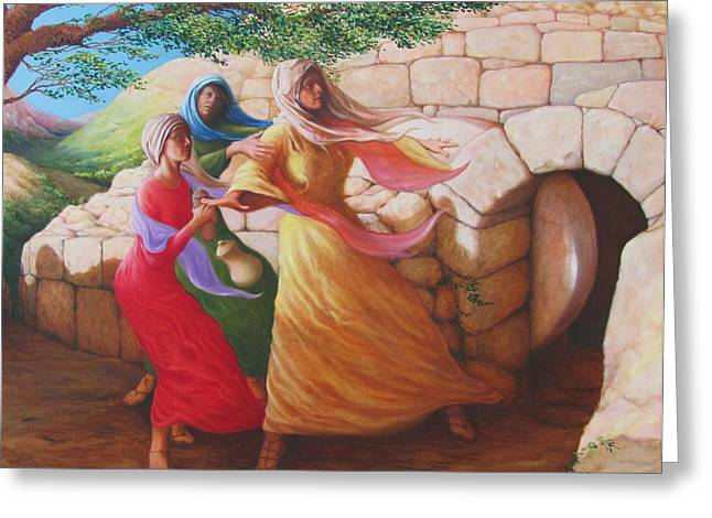 Herschel Pollard Greeting Cards - Mary Magdalene Discovering the Empty Tomb Greeting Card by Herschel Pollard