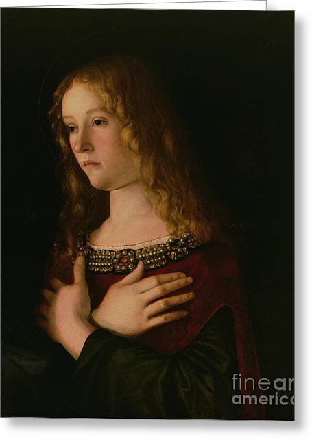 Collar Paintings Greeting Cards - Mary Magdalene Greeting Card by Giovanni Bellini