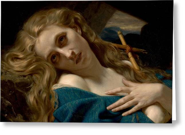 Historically Significant Greeting Cards - Mary Magdalene In The Cave Greeting Card by Hugues Merle