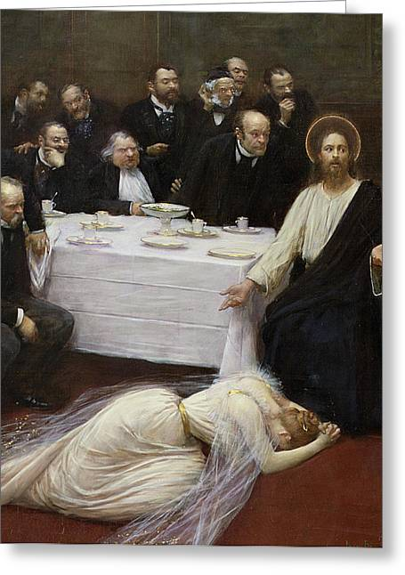 The Houses Greeting Cards - Mary Magdalene in the house of the Pharisee Greeting Card by Jean Beraud