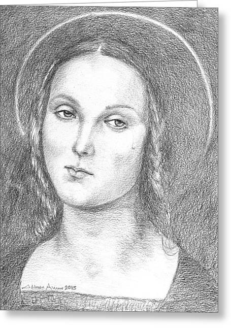 Orthodox Drawings Greeting Cards - Mary Magdalene Greeting Card by Salman Ameer