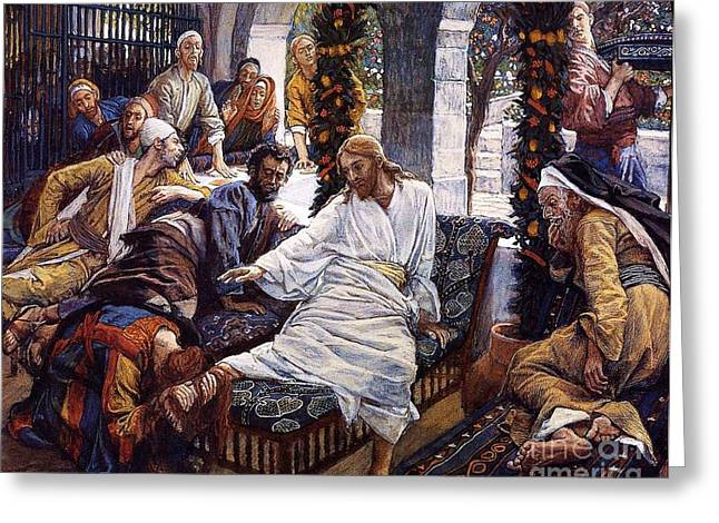 Ointment Greeting Cards - Mary Magdalenes precious ointment Greeting Card by Pg Reproductions