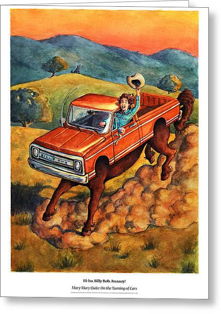Cartoony Greeting Cards - Mary Mary Quite On the Naming of Cars Greeting Card by David Condry