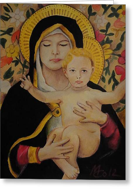Jesus Pastels Greeting Cards - Mary Greeting Card by Michael Co