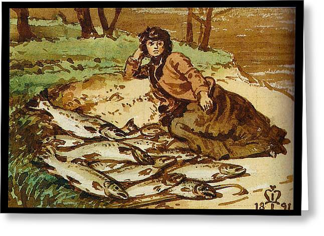 Salmon Paintings Greeting Cards - Mary Millais with a huge catch of salmon Greeting Card by Celestial Images
