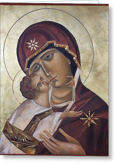 Egg Tempera Paintings Greeting Cards - Mary of Valdamir Greeting Card by Mary jane Miller