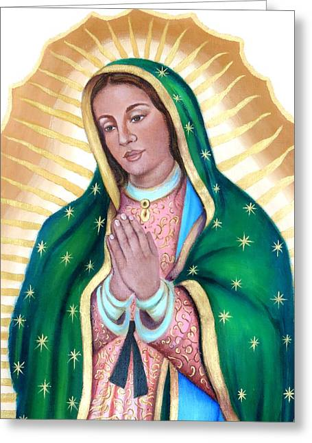 Earth Tapestries - Textiles Greeting Cards - Mary our beloved mother Greeting Card by Yamelin Gonzalez-Ortiz