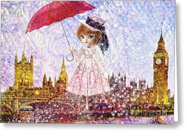 Mary Mixed Media Greeting Cards - Mary Poppins Greeting Card by Mo T