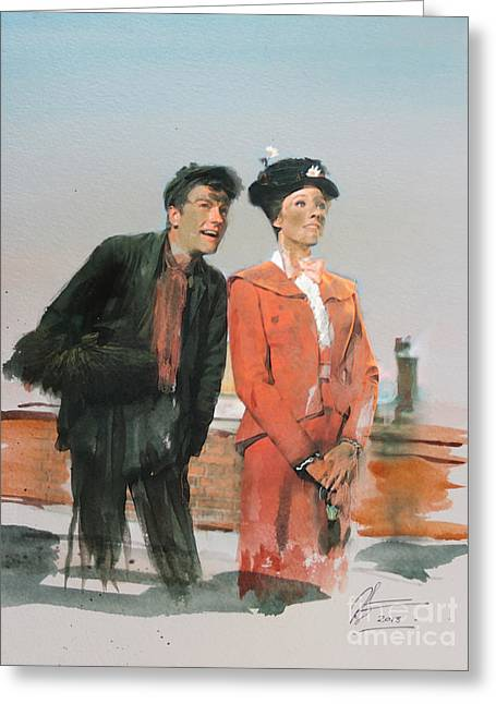 1964 Movies Greeting Cards - Mary Poppins Greeting Card by Roger Lighterness