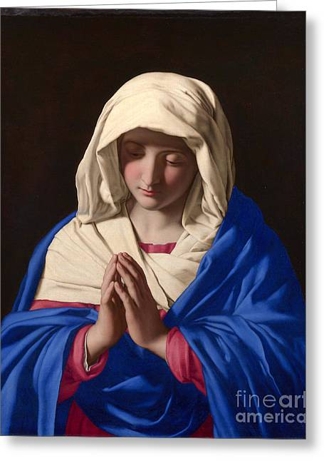 Digital Media Greeting Cards - Mary Praying Greeting Card by Celestial Images
