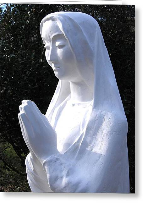 Christ Sculptures Greeting Cards - Mary Praying 2009 Greeting Card by Karl Leonhardtsberger