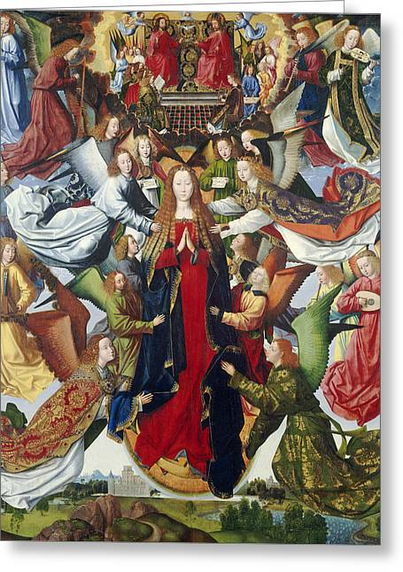 Mary, Queen Of Heaven, C. 1485- 1500 Oil On Panel Greeting Card by Master of the Legend of St. Lucy