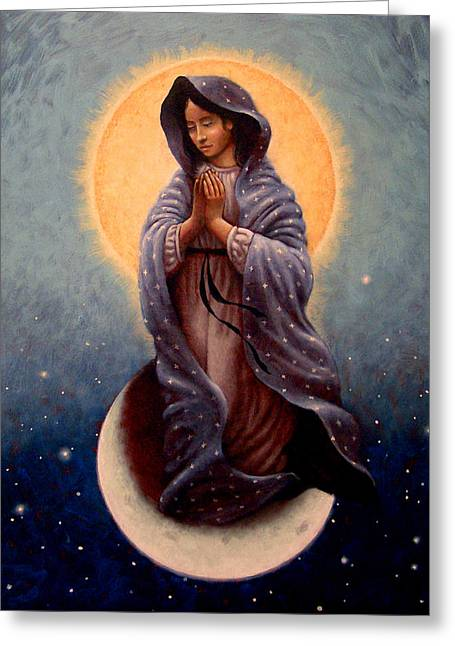 Religious Paintings Greeting Cards - Mary Queen of Heaven Greeting Card by Timothy Jones
