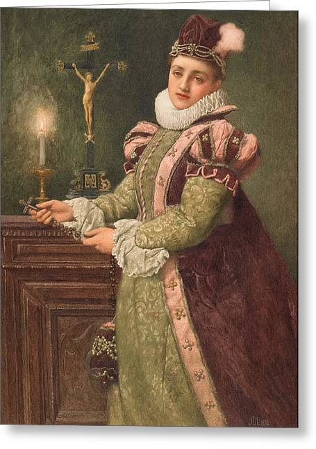 Candle Lit Greeting Cards - Mary Queen of Scots Greeting Card by Sir James Dromgole Linton