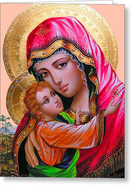 Religious Prints Photographs Greeting Cards - Mary s Eyes Greeting Card by Munir Alawi