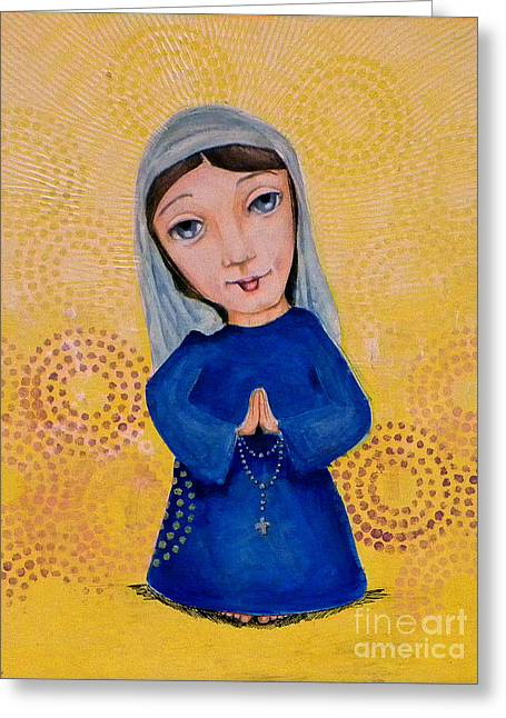 Rosary Mixed Media Greeting Cards - Mary Greeting Card by Studio A and A