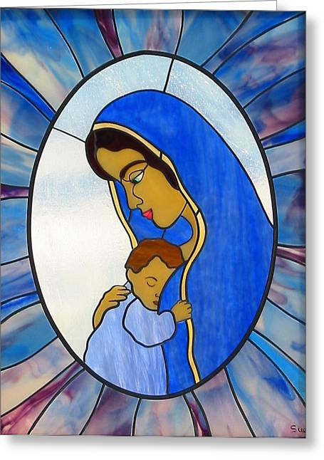 Jesus Glass Art Greeting Cards - Blessed Virgin Mary Greeting Card by Suzanne Tremblay