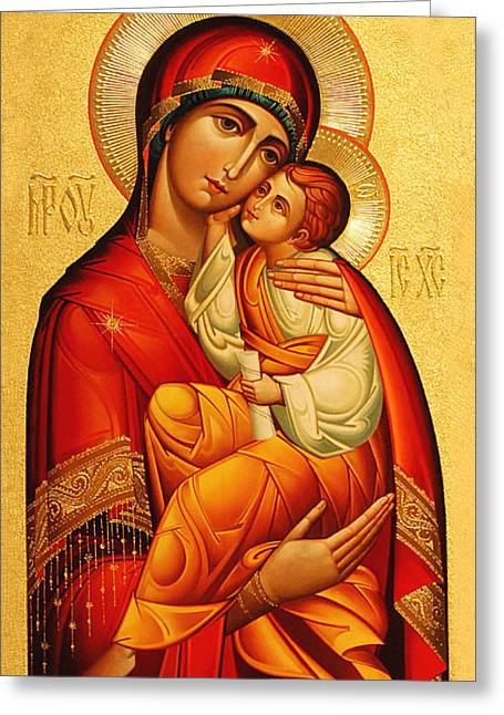 Orthodox Greeting Cards - Mary The God Bearer Greeting Card by Philip Ralley