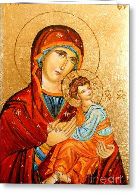 Mary With Jessus R.2 Greeting Card by Sorin Apostolescu