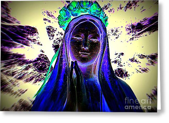 Purple Robe Greeting Cards - Mary With Roses Greeting Card by Ed Weidman