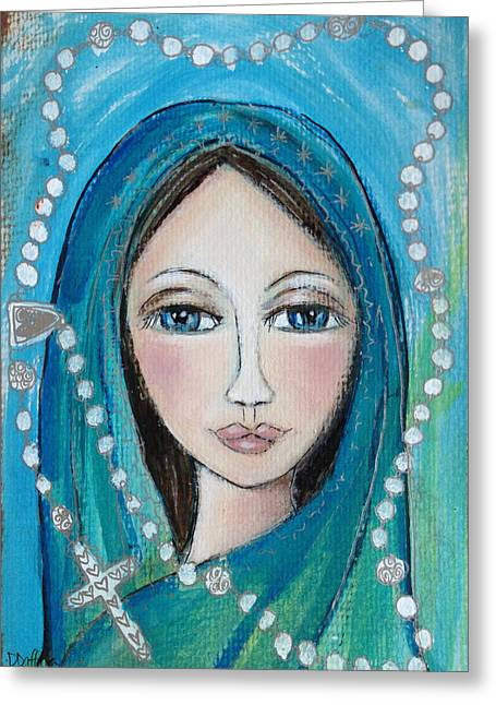 Best Sellers -  - Rosary Greeting Cards - Mary with White Rosary Beads Greeting Card by Denise Daffara