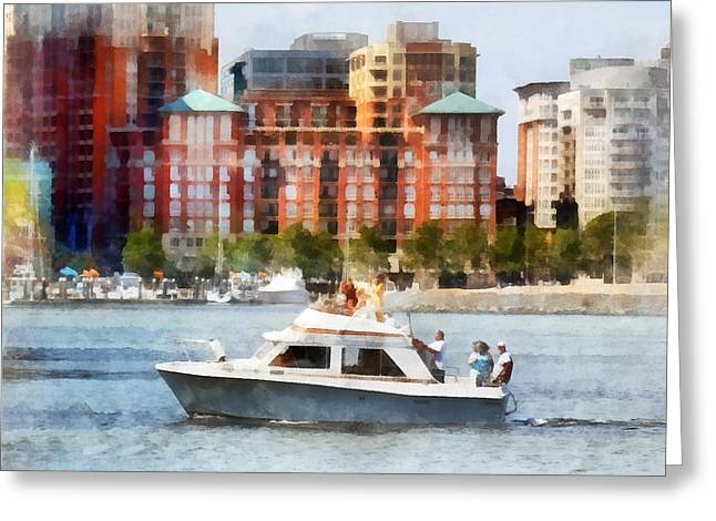 Skyscraper Greeting Cards - Maryland - Cabin Cruiser by Baltimore Skyline Greeting Card by Susan Savad