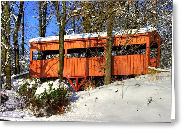 Snow-covered Landscape Greeting Cards - Maryland Country Roads - The Hidden Covered Bridge of Braddock Mountain - Frederick County Greeting Card by Michael Mazaika