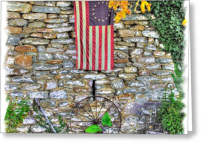 Outbuildings Greeting Cards - Maryland County Roads - Stone Outbuilding With Betsy Ross American Flag - Thurmont Frederick County Greeting Card by Michael Mazaika