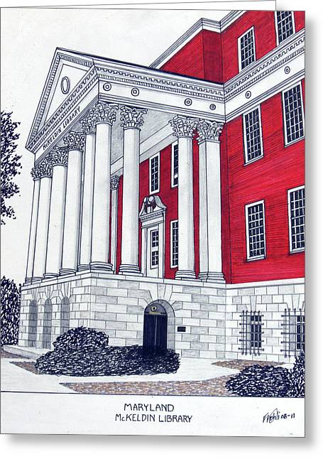College Campus Buildings Drawings Greeting Cards - Maryland Greeting Card by Frederic Kohli