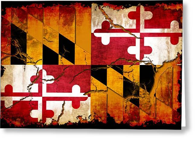 Maryland Flag Greeting Cards - Maryland Grunge Style Flag Greeting Card by David G Paul