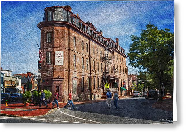 Crosswalk Greeting Cards - Maryland Inn - Annapolis Greeting Card by Brian Wallace