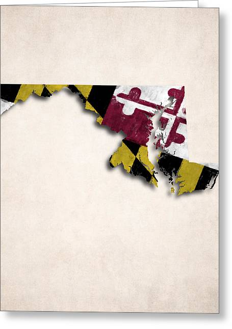 Maryland Flag Greeting Cards - Maryland Map Art with Flag Design Greeting Card by World Art Prints And Designs