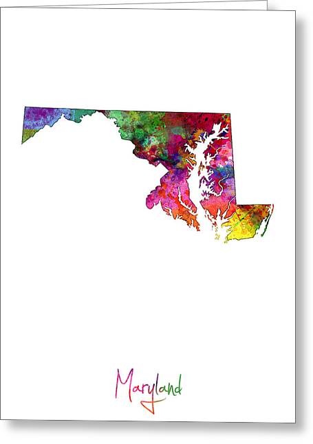Cartography Digital Art Greeting Cards - Maryland Map Greeting Card by Michael Tompsett
