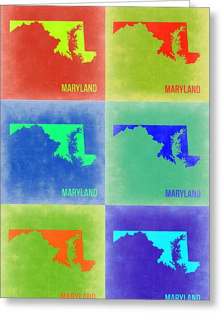Maryland Greeting Cards - Maryland Pop Art Map 2 Greeting Card by Naxart Studio