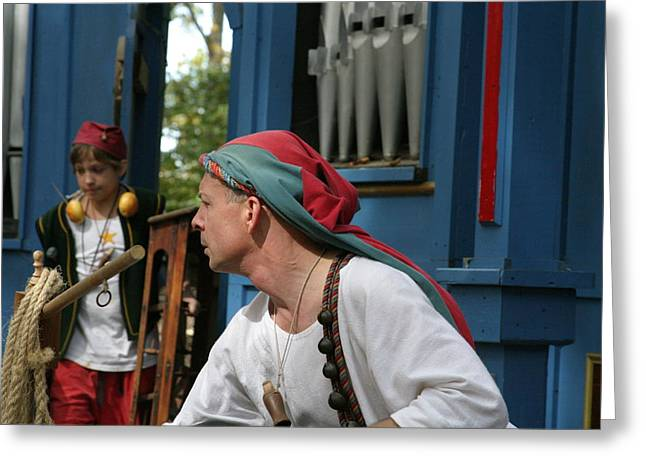 Olde Greeting Cards - Maryland Renaissance Festival - A Fool Named O - 121247 Greeting Card by DC Photographer