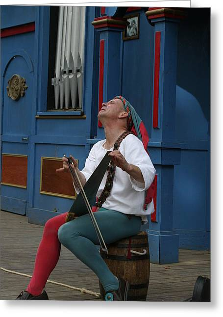 Old Photographs Greeting Cards - Maryland Renaissance Festival - A Fool Named O - 121255 Greeting Card by DC Photographer