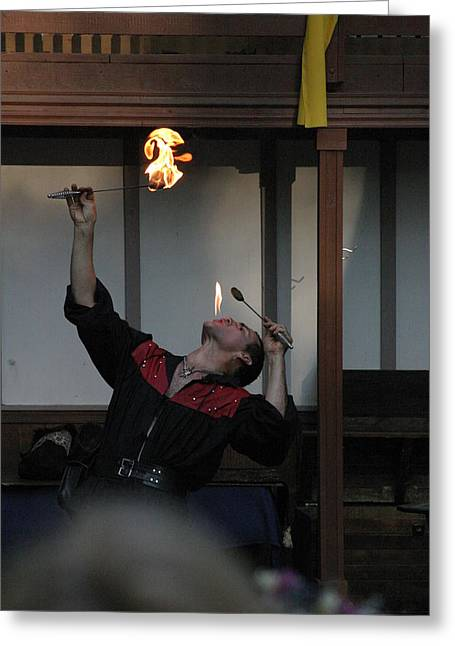 Fox Greeting Cards - Maryland Renaissance Festival - Johnny Fox Sword Swallower - 1212101 Greeting Card by DC Photographer