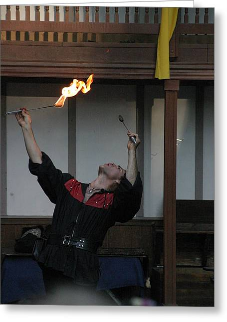 Rennfest Greeting Cards - Maryland Renaissance Festival - Johnny Fox Sword Swallower - 1212104 Greeting Card by DC Photographer