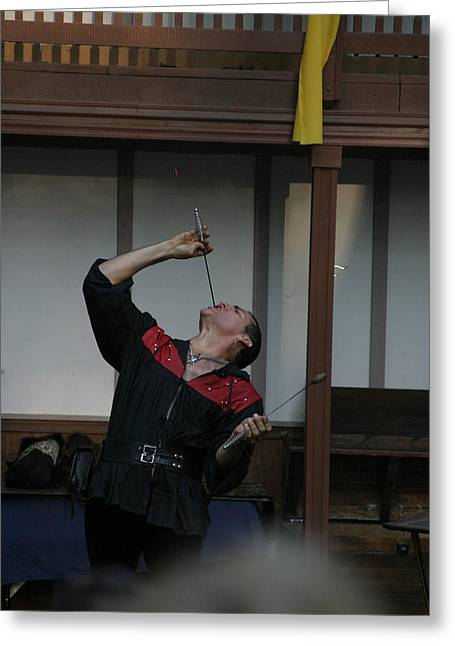Artist Greeting Cards - Maryland Renaissance Festival - Johnny Fox Sword Swallower - 1212108 Greeting Card by DC Photographer